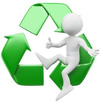 3d homem sentado no símbolo de reciclagem