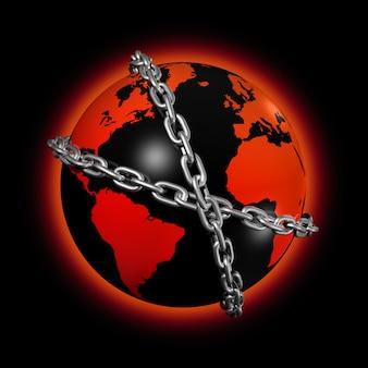 3d icon ilustração de um globo do mundo acorrentado