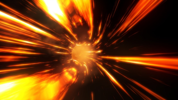 3d ilustração abstrata fogo wormhole com flash
