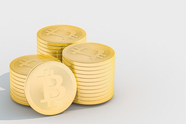 3d ilustração bitcoin ouro pilha