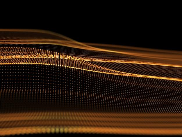 3d ilustração futurista com fluxo de pontos cibernéticos