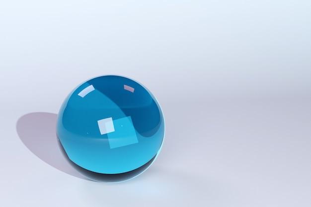 3d ilustração geométrica volumétrica bola azul com uma sombra no fundo branco isolado