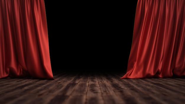 3d ilustração luxo vermelho veludo seda cortinas decoração design, idéias. cortina de palco vermelho para cenário de cena de teatro ou ópera. mock-up para seu projeto de design
