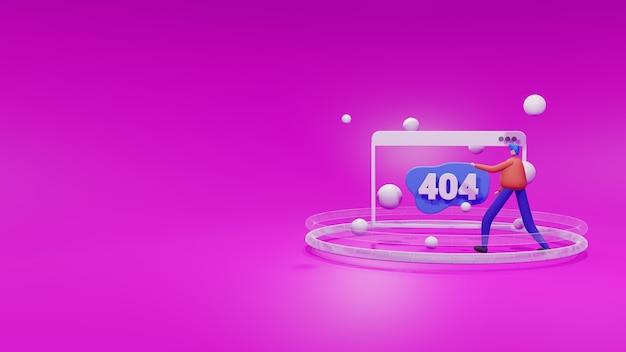 3d ilustração site 404 não encontrado conceito