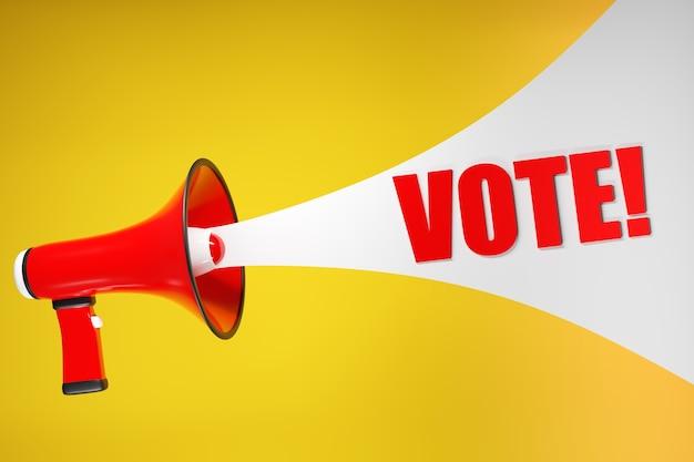3d ilustração vermelho e branco dos desenhos animados do alto-falante escrevendo voto