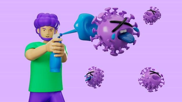 3d ilustram o personagem de desenho animado usando a mão de limpeza em gel de álcool para proteger a gripe e o vírus de corona covid-19.