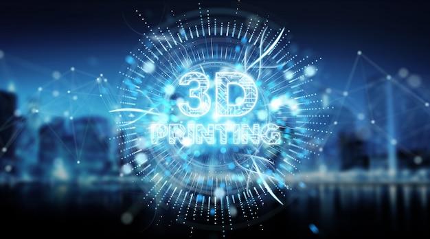 3d impressão digital de texto holograma 3d rendering
