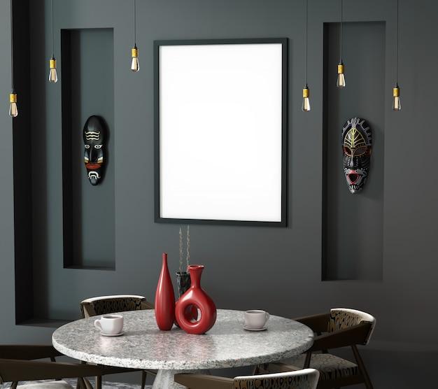 3d interior abstrato do ethno do café com uma mesa redonda.