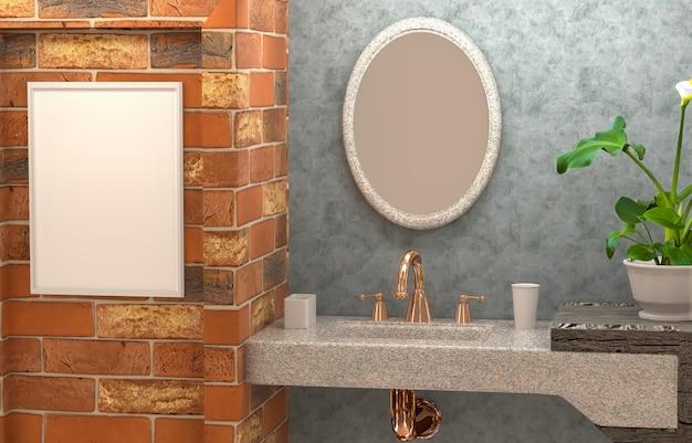 3d interior do banheiro com parede de concreto, flor, espelho abstrato e um quadro vazio