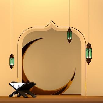 3d islâmico renderização de fundo de tema árabe com lua alquran e lâmpada árabe
