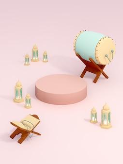 3d islâmico renderização do tema árabe produto exibir fundo anúncio fpr com cilindro alquran e lâmpada árabe