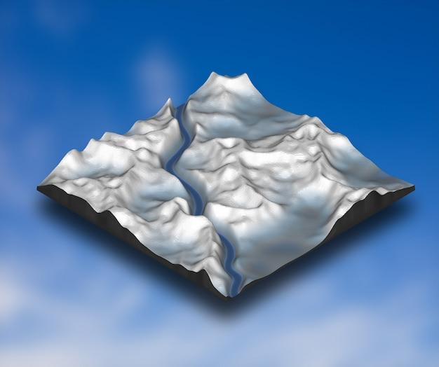 3d isométrica paisagem de neve com terreno de montanha