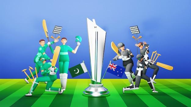 3d jogadores da equipe de críquete participantes do paquistão vs nova zelândia com o troféu de vencimento de prata sobre fundo verde e azul.