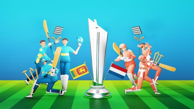 3d jogadores da equipe de críquete participantes do sri lanka vs holanda com troféu e equipamento de torneio de vencimento de prata sobre fundo verde e azul.