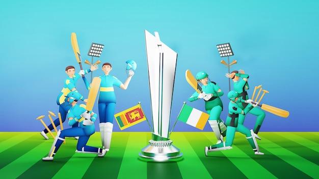 3d jogadores da equipe de críquete participantes do sri lanka vs irlanda com troféu e equipamento de torneio de vencimento de prata sobre fundo verde e azul.