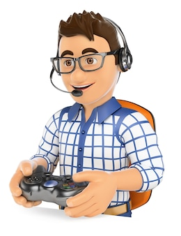 3d jovem jogador jogando console jogo online