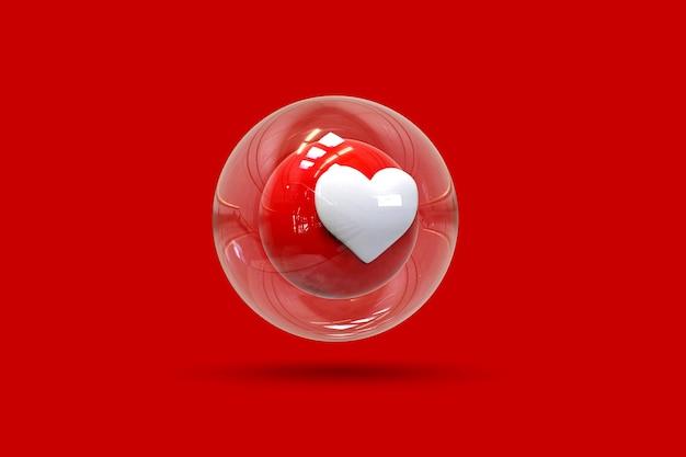 3d like instgaram com bolha de vidro