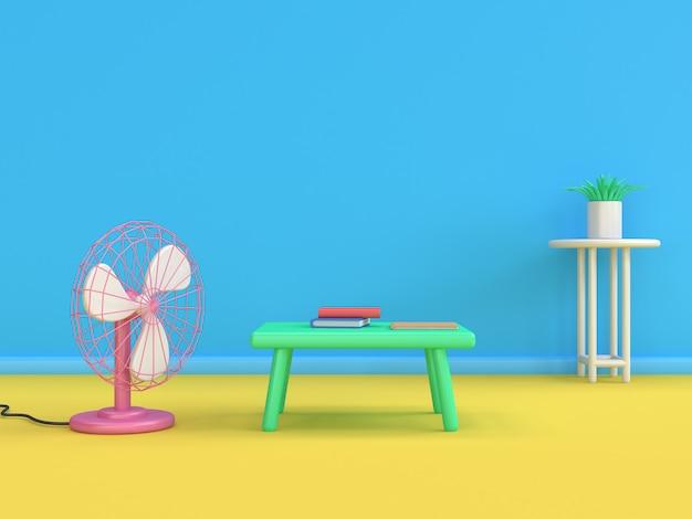 3d, livro, livro, ventilador, caricatura, estilo, mínimo, 3d, render, azul, parede, amarela, chão, cena