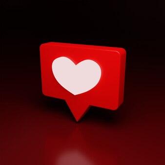 3d love notifaction logo icon brilhar em alta qualidade render