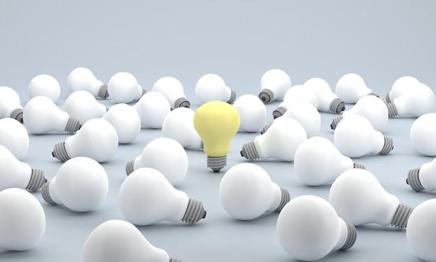 3d. low poly, grupo equipe de lâmpadas, idéia e solução, pensamento diferente, conceito de liberdade