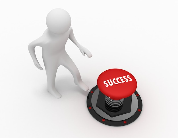 3d man push button sucesso