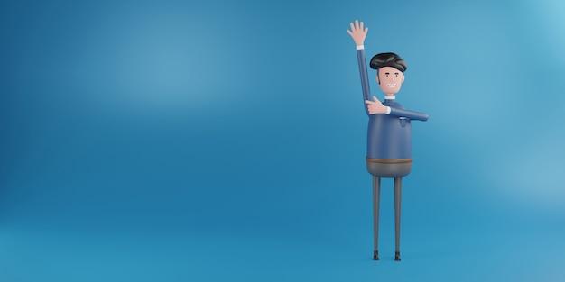 3d man raise up hand renderização 3d