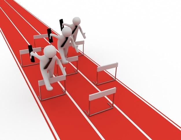 3d man run to target leader concept