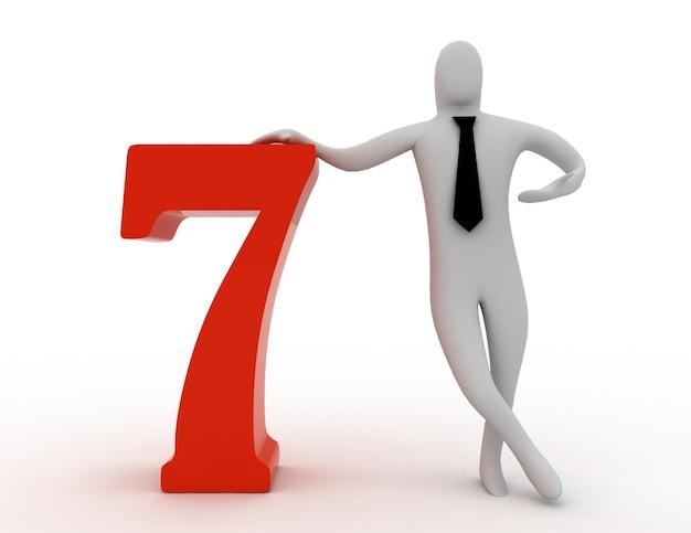 3d man segura número sete