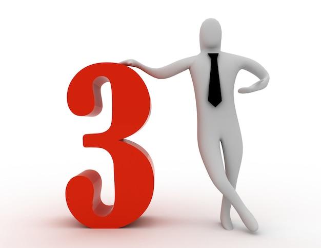3d man segura número três