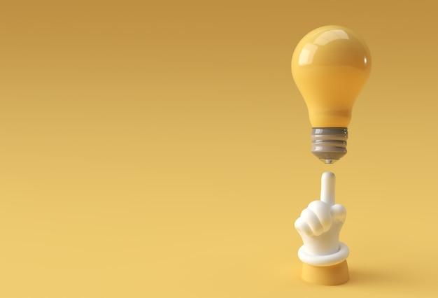 3d mão humana apontando o dedo tendo uma boa ideia olhando para a lâmpada de ideia de luz 3d render design.
