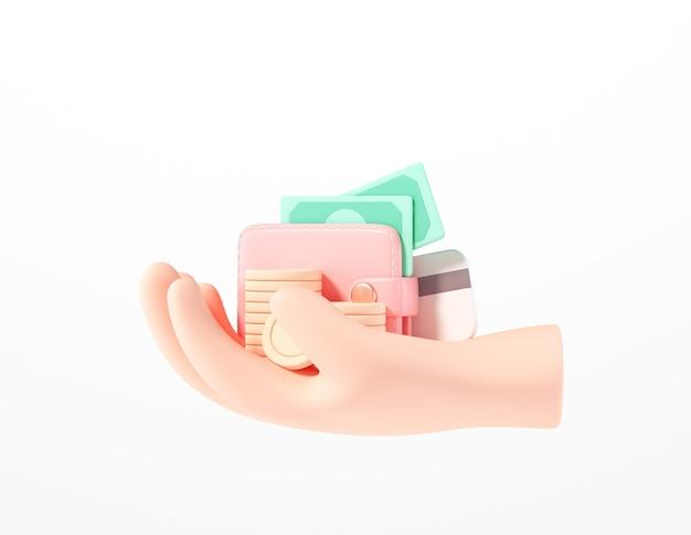 3d mão segurando carteira, pilha de moedas, contas e cartão de crédito em branco isolado