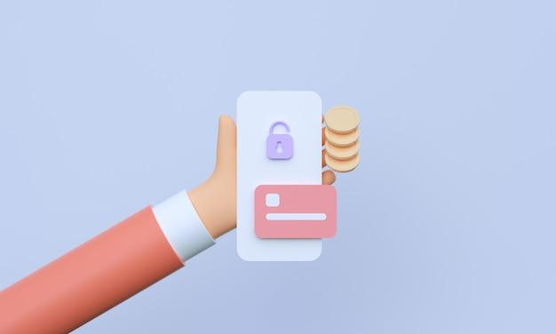 3d mão segurando o smartphone com transações bancárias e pagamentos móveis on-line
