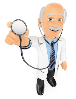 3d médico ouvindo com um estetoscópio