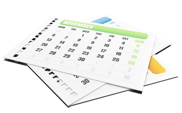 3d mês de novembro rasgar o calendário