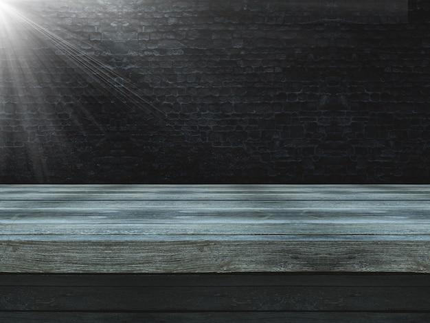 3d mesa de madeira contra uma parede de tijolo velho grunge com holofotes brilhando