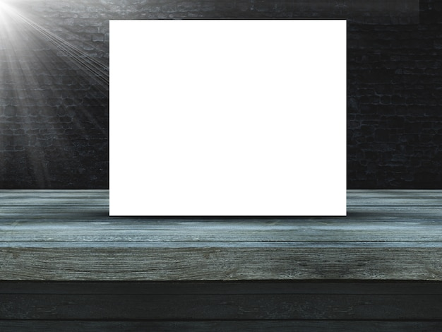 3d mesa de madeira contra uma parede de tijolo velho grunge com tela em branco