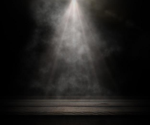 3d mesa de madeira escura, olhando para uma sala esfumaçada