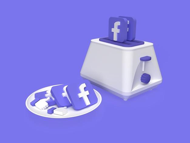 3d mídia social do facebook no prato com conceito de marketing de torradeira renderizado