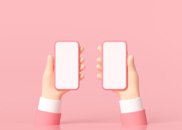 3d minimal mãos segurando um smartphone com uma tela vazia.