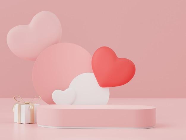 3d mínimo de monitores pódio com adorável coração backgroud para o dia dos namorados