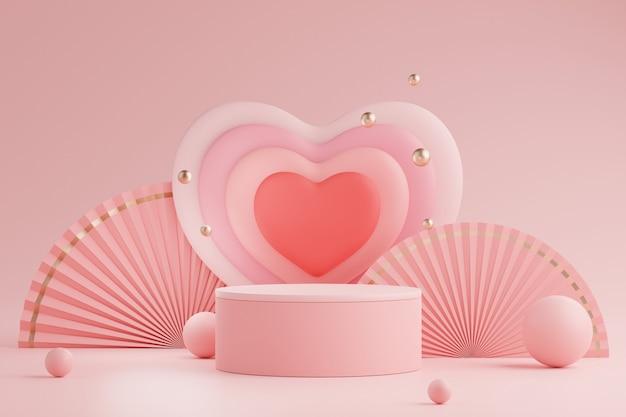 3d mínimo de monitores pódio com adorável coração backgroud para o dia dos namorados.