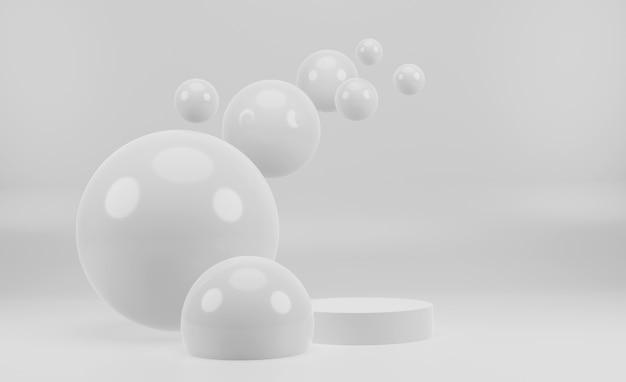 3d mock up branco minimalista pódio para apresentação do produto
