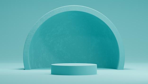 3d mock up pódio em uma paleta de cores hortelã com um hemisfério ou um arco