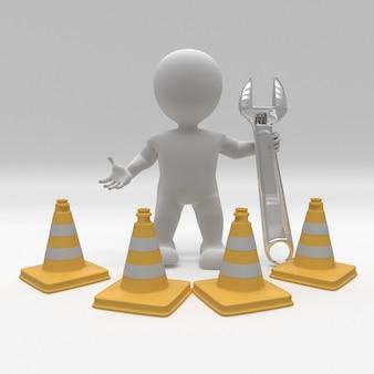 3d morph homem com cones de perigo