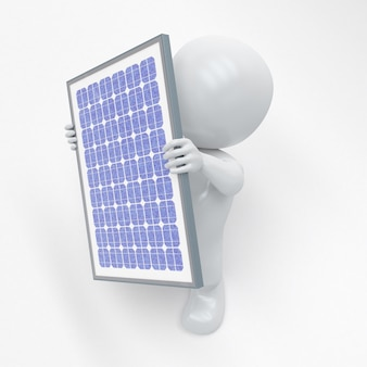 3d morph homem com painel solar