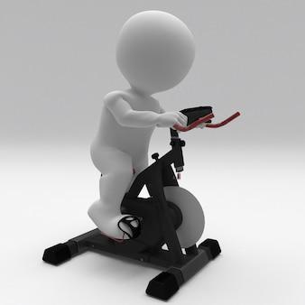 3d morph man se exercitando em uma bicicleta