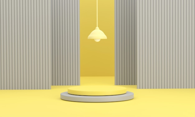3d. o pódio do círculo e o fundo com lanterna em um fundo amarelo mostram produtos.