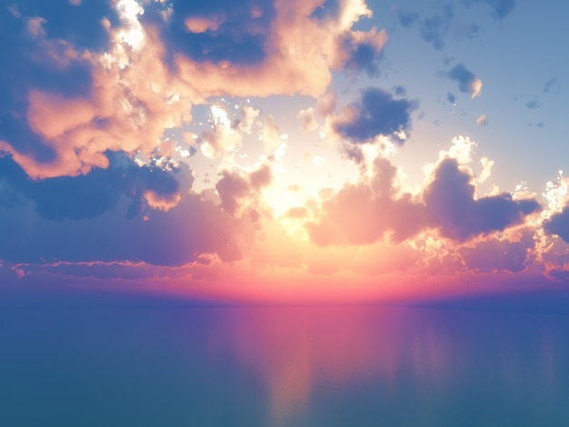 3d oceano contra o céu do por do sol