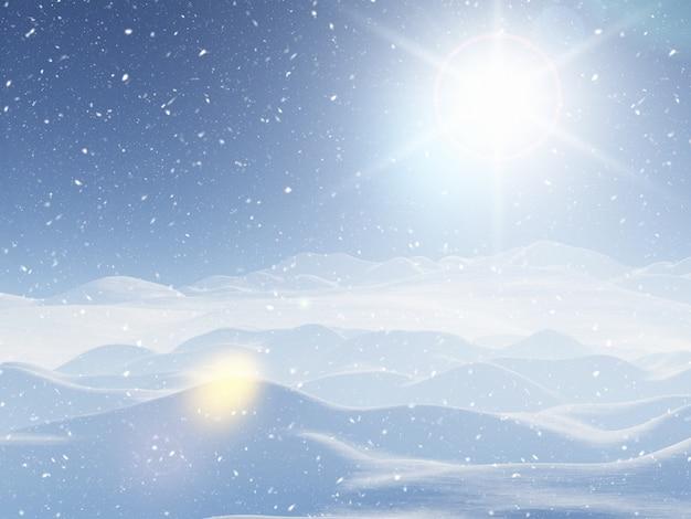 3d paisagem de inverno nevado