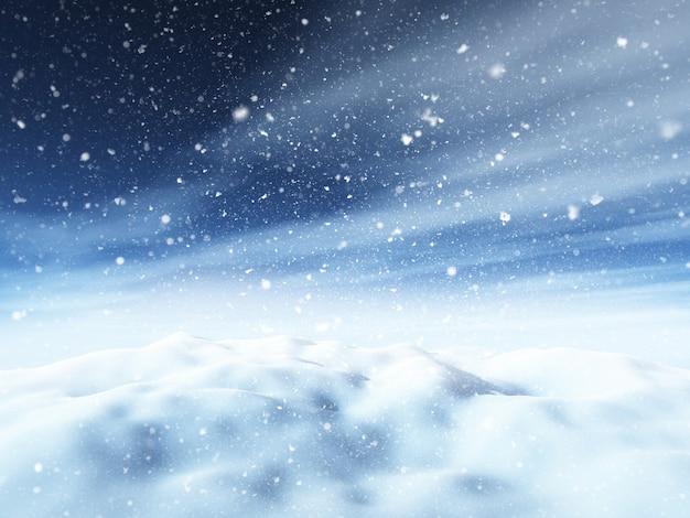 3d paisagem de natal nevado